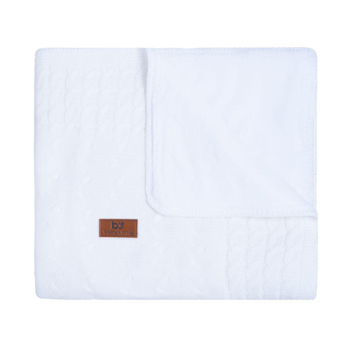 couverture berceau teddy cable blanc