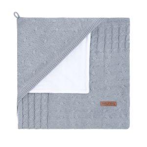 Couverture enveloppante velours Cable gris