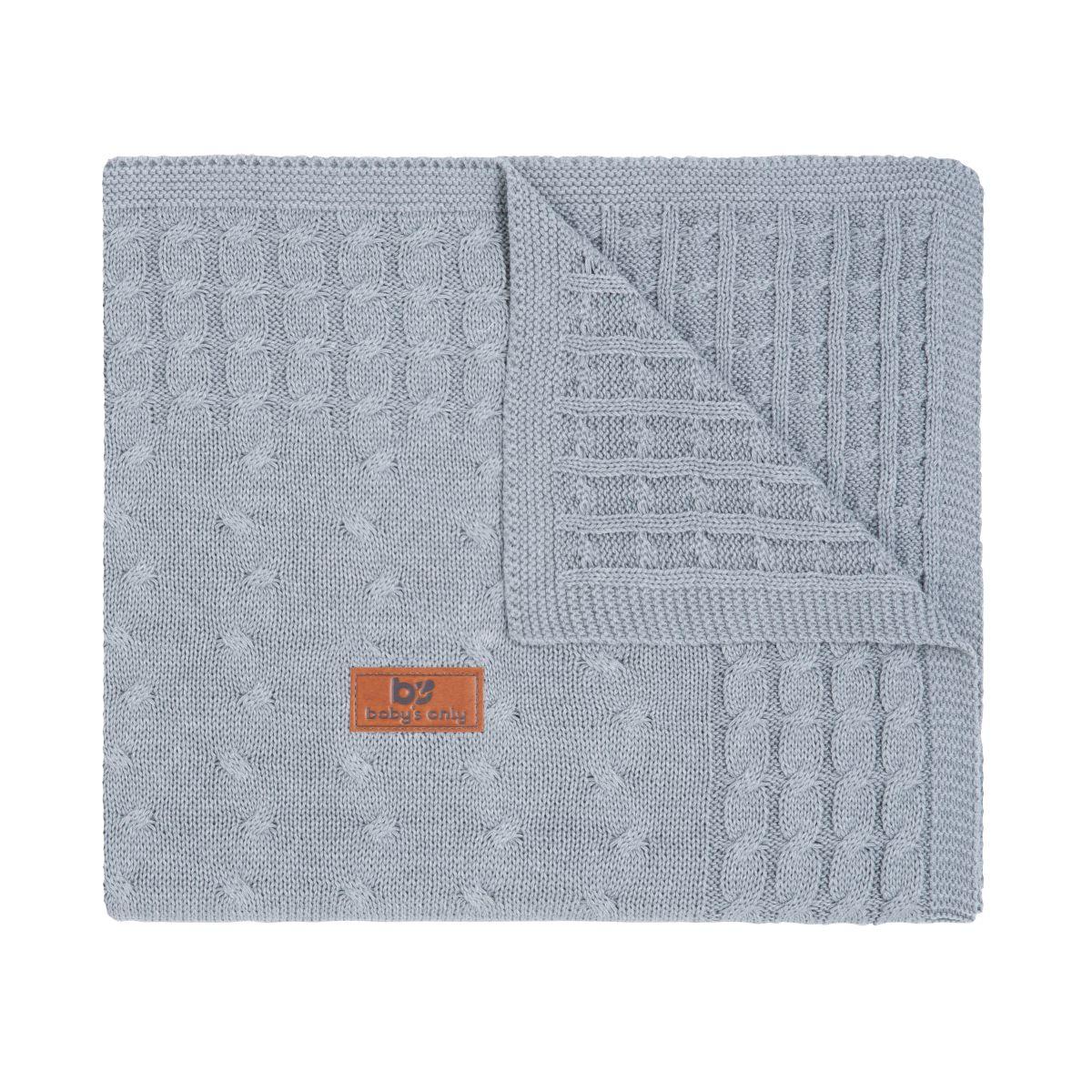 couverture lit bb cable gris