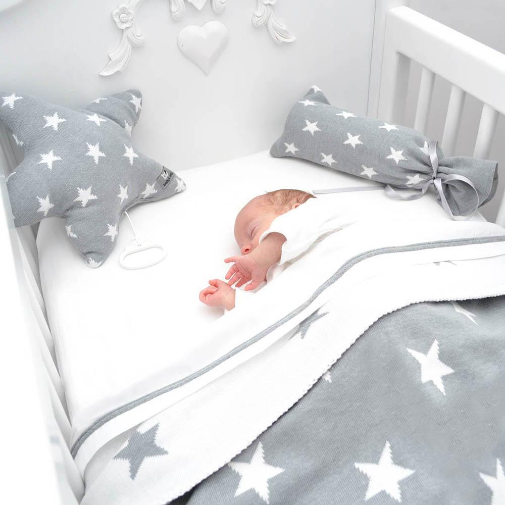 couverture lit bb star fuchsiablanc