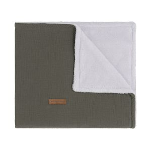 Couverture lit bébé teddy Breeze khaki