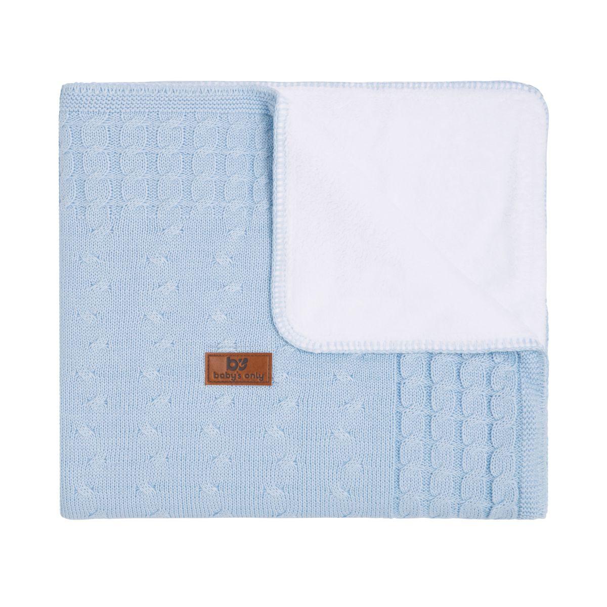 couverture lit bb teddy cable bleu ciel