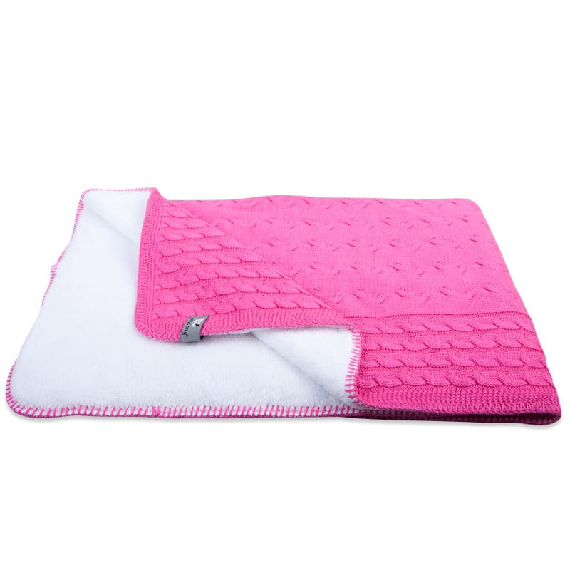 couverture lit bb teddy cable fuchsia