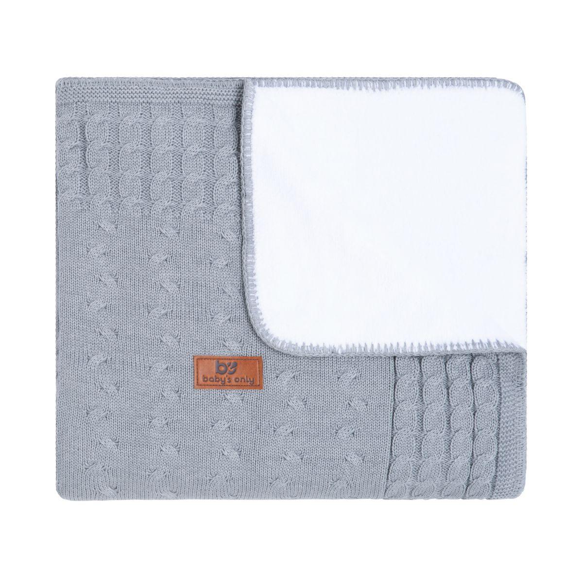 couverture lit bb teddy cable gris