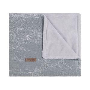 Couverture lit bébé teddy Marble gris/gris argenté