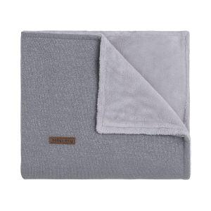 Couverture lit bébé teddy Sparkle gris-argent mêlé