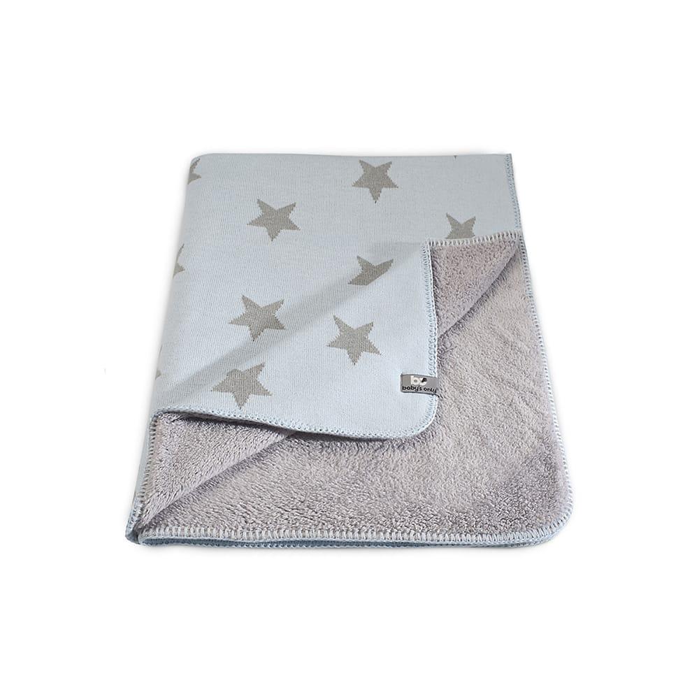 couverture lit bb teddy star bleu cielgris