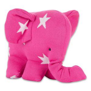 Éléphant Star fuchsia/blanc