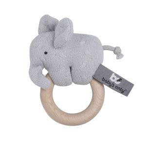 Hochet en bois Éléphant gris argent