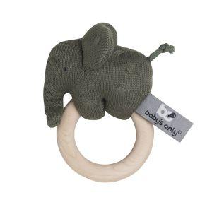 Hochet en bois Éléphant khaki