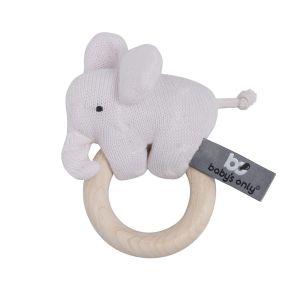 Hochet en bois Éléphant rose très clair