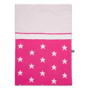 Housse de couette Star fuchsia/blanc - 100x135