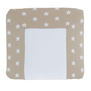 Housse matelas à langer Star beige/blanc - 75x85