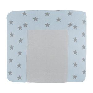 Housse matelas à langer Star blue ciel/gris - 75x85