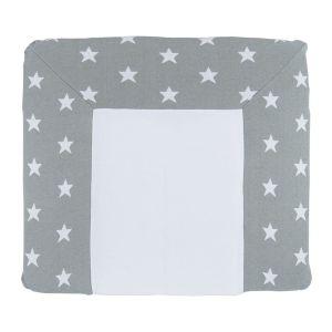 Housse matelas à langer Star gris/blanc - 75x85