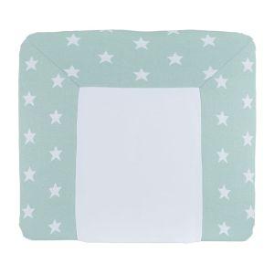 Housse matelas à langer Star mint/blanc - 75x85