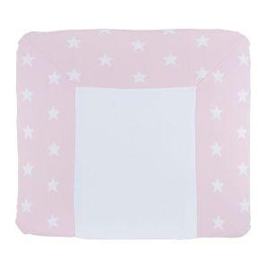Housse matelas à langer Star rose/blanc - 75x85