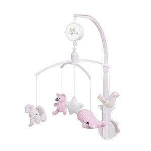 Mobiles bébé musical rose très clair/rose/blanc