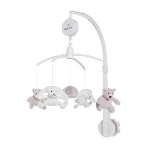 Mobiles bébé musical Sense vieux rose/caillou gris/blanc