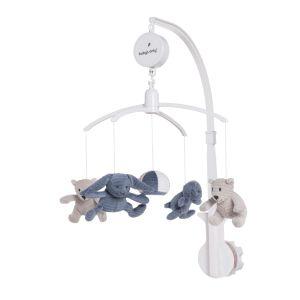 Mobiles bébé musical Sense vintage blue/caillou gris/blanc