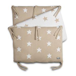 Tour de lit Star beige/blanc