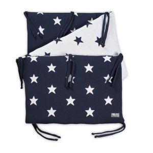 Tour de lit Star marine/blanc